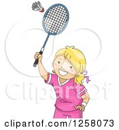 Clipart Of A Happy Blond White Girl Playing Badminton Royalty Free Vector Illustration