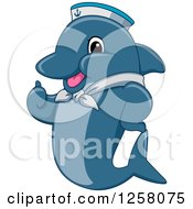 Clipart Of A Cute Happy Dolphin Sailor Holding A Thumb Up Royalty Free Vector Illustration by BNP Design Studio