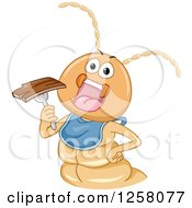 Clipart Of A Hungry Termite Wearing A Big And Eating Wood Royalty Free Vector Illustration
