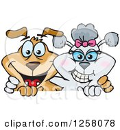 Clipart Of A Happy Poodle And Brown Dog Hugging Over A Sign Royalty Free Vector Illustration by Dennis Holmes Designs