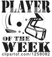 Clipart Of A Black And White American Football Helmet And Player Of The Week Text Royalty Free Vector Illustration