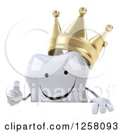 Clipart Of A 3d Happy Crowned Tooth Character Holding A Thumb Up Over A Sign Royalty Free Illustration