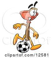 Sink Plunger Mascot Cartoon Character Kicking A Soccer Ball