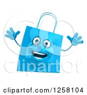 Clipart Of A 3d Blue Happy Shopping Or Gift Bag Character Royalty Free Illustration