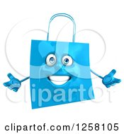 Clipart Of A 3d Blue Welcoming Shopping Or Gift Bag Character Royalty Free Illustration