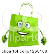 Clipart Of A 3d Green Happy Shopping Or Gift Bag Character Royalty Free Illustration