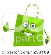3d Green Happy Shopping Or Gift Bag Character Holding A Thumb Up