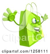 Clipart Of A 3d Green Happy Shopping Or Gift Bag Character Jumping Royalty Free Illustration