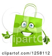 Clipart Of A 3d Green Happy Shopping Or Gift Bag Character Presenting Royalty Free Illustration