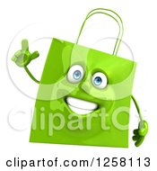 Clipart Of A 3d Green Happy Shopping Or Gift Bag Character With An Idea Royalty Free Illustration
