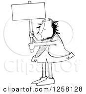 Clipart Of A Black And White Hairy Caveman Holding Up A Blank Sign Royalty Free Vector Illustration