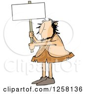 Hairy Caveman Holding Up A Blank Sign