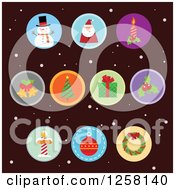 Round Christmas Item Icons Over Dark Brown And Snow