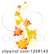 Clipart Of Autumn Leaves Floating In A Breeze Royalty Free Vector Illustration by Pushkin