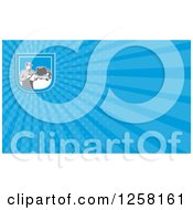 Clipart Of A Retro Mechanic And Rays Business Card Design Royalty Free Illustration