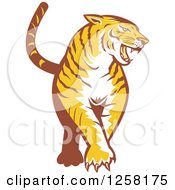 Clipart Of A Retro Tiger Prowling Royalty Free Vector Illustration