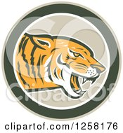 Clipart Of A Retro Growling Tiger Head In A Green Circle Royalty Free Vector Illustration