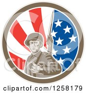 Clipart Of A Retro American Soldier With A Bayonet In An American Flag Circle Royalty Free Vector Illustration