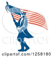 Retro Revolutionary Soldier Walking With An American Betsy Ross Flag