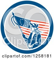 Retro Revolutionary Soldier With An American Betsy Ross Flag In A Blue White And Gray Circle