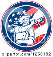 Clipart Of A Retro Cavalry Soldier Blowing A Bugle In An American Flag Circle Royalty Free Vector Illustration