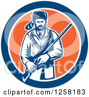Retro American Frontiersman Davy Crockett Holding A Rifle In A Blue White And Orange Circle