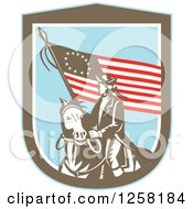 Clipart Of A Retro Woodcut Revolutionary Soldier Riding A Horse With An American Betsy Ross Flag In A Brown White And Blue Shield Royalty Free Vector Illustration by patrimonio