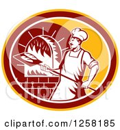 Clipart Of A Retro Male Baker Cooking Bread In A Wood Fired Brick Oven In A Yellow Maroon And White Oval Royalty Free Vector Illustration
