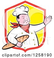 Clipart Of A Cartoon Male Chef Holding Bread And Presenting In A Red White And Yellow Shield Royalty Free Vector Illustration by patrimonio