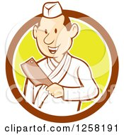 Clipart Of A Retro Cartoon Styled Japanese Butcher Man Holding A Cleaver Knife In A Brown White And Yellow Circle Royalty Free Vector Illustration
