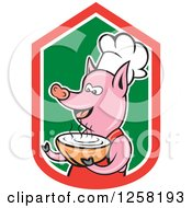 Clipart Of A Cartoon Pig Chef Holding A Bowl Of Soup In A Red White And Green Shield Royalty Free Vector Illustration