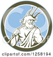 Clipart Of A Roman Sea God Neptune Or Poseidon With A Trident In A Blue And Olive Green Circle Royalty Free Vector Illustration