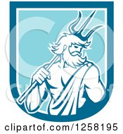 Clipart Of A Roman Sea God Neptune Or Poseidon With A Trident In A Blue And White Shield Royalty Free Vector Illustration
