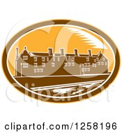 Clipart Of A Woodcut Of The University Of Cambridge In A Brown White And Yellow Oval Royalty Free Vector Illustration