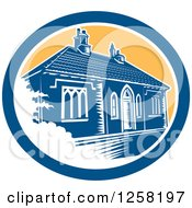 Clipart Of A Retro Woodcut Medieval House In Bath England In A Blue White And Yellow Oval Royalty Free Vector Illustration