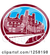 Clipart Of A The St Johns College Building Of The University Of Cambridge In A Maroon White And Blue Oval Royalty Free Vector Illustration