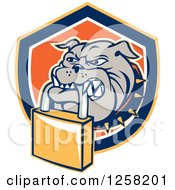 Clipart Of A Retro Bulldog Biting A Padlock In A Shield Royalty Free Vector Illustration by patrimonio