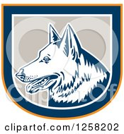Clipart Of A Retro German Shepherd Dog In An Orange Blue White And Tan Shield Royalty Free Vector Illustration