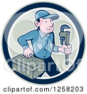 Poster, Art Print Of Cartoon White Male Plumber With A Monkey Wrench And Tool Box In A Circle