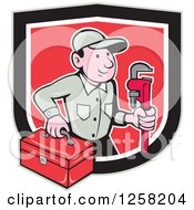Poster, Art Print Of Cartoon White Male Plumber With A Monkey Wrench And Tool Box In A Black Tan White And Red Shield