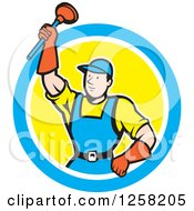 Cartoon White Male Plumber Holding Up A Plunger In A Blue White And Yellow Circle