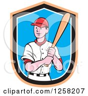 Clipart Of A Happy White Cartoon Baseball Player Batting Over An Orange Black White And Blue Shield Royalty Free Vector Illustration by patrimonio