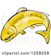 Clipart Of A Cartoon Rainbow Trout Fish Jumping Royalty Free Vector Illustration