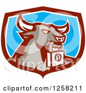 Clipart Of A Retro Bull With A Padlock In A Maroon White And Blue Shield Royalty Free Vector Illustration by patrimonio