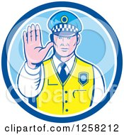 Clipart Of A Retro Male Police Man Gesturing To Stop In A Blue And White Circle Royalty Free Vector Illustration