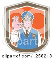 Clipart Of A Retro Male Police Man Gesturing To Stop In A Brown White And Orange Shield Royalty Free Vector Illustration