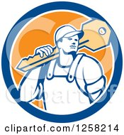 Clipart Of A Retro Locksmith Man Carrying A Giant Key On A Blue White And Orange Circle Royalty Free Vector Illustration