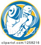 Clipart Of A Retro Muscular Male Bodybuilder Lifting Weights In A Yellow Blue And White Circle Royalty Free Vector Illustration