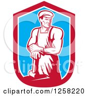 Clipart Of A Retro Male Blacksmith Man With A Hammer In A Red White And Blue Shield Royalty Free Vector Illustration