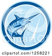 Clipart Of A Retro Blue Swimming Marlin Fish In A Circle Royalty Free Vector Illustration